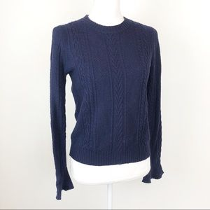 438c0e1c255 J. Crew Sweaters - J. Crew Cable Knit Ruffle Crew Navy Wool Sweater
